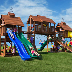 Redwood Swing Sets by Kid's Creations - This is one big swing set. This big backyard swing set has 6 play decks, 4 premium slides, 2 sand boxes, 4 swinging stations and several different climbing activities. No child will feel left out. This is a customer favorite.