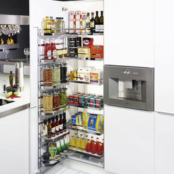 """Tandem Pantry - The Tandem pantry can be used in cabinets from 30""""-42"""" wide in the dual configuration. When the door is opened, the shelves in the back are pulled forward for easy access."""