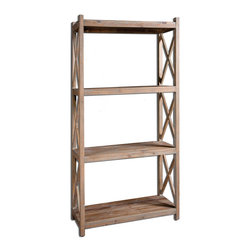 Uttermost - Stratford Reclaimed Wood Étagère - Naturally Weathered, Reclaimed Fir Wood With A Light Gray Glaze. Bulbs Included: No