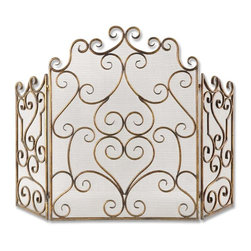 Uttermost - Gold Fireplace Screen Made Hand Forged Metal Mesh Screen Home Decor - Gold unique and beautiful fireplace screen made of hand forged metal and mesh screen home accent decor