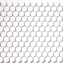 Glazed Porcelain 1 Inch Hexagon Mosaics- White - Glazed Porcelain 1 Inch Hexagon Mosaics- White- Sold Per Sheet