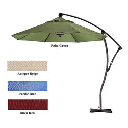 None - Cantilever Premium Aluminum 9-foot Umbrella - Its simple to adjust this versatile cantilever patio umbrella as the sun changes position. Able to rotate 360 degrees and tilt 270 degrees, the umbrellas polyester fabric top and nine-foot aluminum pole will add character to your outdoor space.