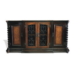 Koenig Collection - Tuscan Old World Sideboard Noche, Black Stain With Gold Scrolls - Tuscan Old World Sideboard Noche, Black Stain with Gold Scrolls