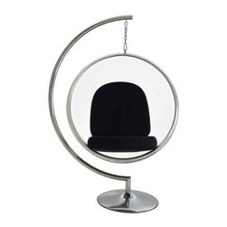 Modway - Ring Chair Chair With Black Pillows - Eei-111-Blk - Clear Acrylic