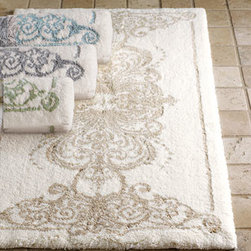 "Horchow - Bath Rug, 23"" x 39"" - Combed cotton bath rugs offer both comfort and beauty with their plush piles and designs inspired by architectural details. By Habidecor. Available in Linen (featured), Light Green, or Platinum; select color when ordering. Machine wash. Made in Po..."