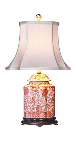 """Lamps Plus - Asian Coral Porcelain Scalloped Tea Jar Table Lamp - This artistic table lamp looks great in a living room or bedroom and is perfect for traditional or Asian-themed decors. It features a porcelain scalloped tea jar base decorated with an exquisite pattern in coral hues. An off white French oval shade sits on top. A three-way socket gives you more lighting control. Porcelain base. Coral-colored floral motif. Off white French oval shade. Takes one 100 watt three-way bulb (not included). 23"""" high. Shade is 7""""x9"""" across the top 13""""x14"""" across the bottom 11"""" high.  Porcelain base.   Coral-colored floral motif.   Off white French oval shade.   Takes one 100 watt three-way bulb (not included).   23"""" high.   Shade is 7"""" wide by 9"""" deep across the top.  Shade is 13"""" wide by 14"""" deep across the bottom.   Shade is 11"""" high."""