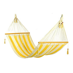 Stylish Yellow and White Stripes Hammock by Veronica Colindres - This isn't quite exactly a chair, but I could never say no to a hammock. And you can't go wrong with yellow and stripes. Put some bolts in your wall and hang it in your living room — I'd do it.