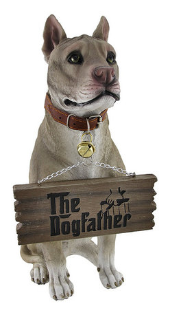 `Bark Off!` Cute Pit Bull Un-welcome Statue Dog - This incredibly cute pit bull terrier lawn / garden statue can help your neighbors, mailman, salesmen, etc. understand what kind of mood you`re in. On good days, turn the sign hanging from the dog`s mouth to read `The Dogfather`. On bad days, turn it around, and it reads `Bark Off!`. The figure measures 14 inches tall, 5 inches wide and 8 1/2 inches deep. Made of extremely durable bonded marble resin, this figure is fade and breakage resistant. It makes a great gift for pit bull lovers.