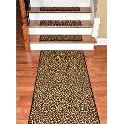 """Dean Flooring Company - Premium Carpet Stair Treads - Leopard 30"""" x 9"""" Plus a Matching 5' Runner - Premium Carpet Stair Treads - Leopard 30"""" x 9"""" Plus a Matching 5' Runner : Beautiful Plush Premium Carpet Stair Treads by Dean Flooring Company Leopard Luxurious and resilient texture High fashion design Densely woven construction Uncommon softness and durability Made from premium quality broadloom Stylish enough to compliment the finest decors Color: Leopard Stair treads are approximately 30 inches by 9 inches Set includes 13 stair treads plus a matching 5 foot runner Each tread is machine serged with color matching yarn Helps prevents slips on your hardwood stairs Provides warmth and comfort Extends the life of your hardwood stairs We can also list custom matching hallway runners and area rugs upon request. Easy do-it-yourself installation with doubles sided carpet tape (sold separately)"""