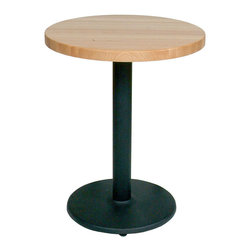 John Boos - Round Maple Butcher Block Cafe Table, Black Pedestal/Disc Base - Cafe Table with maple top and Tuff Var polyurethane finish.  Round cafe tops available in a wide variety of sizes.  Includes powder coated spider and stand.