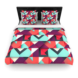 """Kess InHouse - Danny Ivan """"Shapes"""" Aqua Purple Cotton Duvet Cover (Queen, 88"""" x 88"""") - Rest in comfort among this artistically inclined cotton blend duvet cover. This duvet cover is as light as a feather! You will be sure to be the envy of all of your guests with this aesthetically pleasing duvet. We highly recommend washing this as many times as you like as this material will not fade or lose comfort. Cotton blended, this duvet cover is not only beautiful and artistic but can be used year round with a duvet insert! Add our cotton shams to make your bed complete and looking stylish and artistic!"""