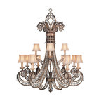 Fine Art Lamps - A Midsummer Nights Dream Chandelier, 171740ST - Inspired by a moonlit garden, this is a fanciful chandelier complete with thousands of moon-dusted crystals. Moon-dusted rosettes hang from each of the 12 silk-shaded candelabras as they add starlight sparkle to your elegant entryway.