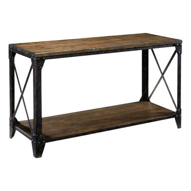 Magnussen - Magnussen Pinebrook Rectangular Sofa Table in Natural Pine - Magnussen - Console Tables - T175573 - The Pinebrook sofa table will look great by your entryway. This sofa table with rustic iron cross-bars adds a faint hint of old-world elegance to your home. Large photo frames and paintings can be arranged on the lower shelf while the top can hold our favorite leather bound books lamps and vases. A distressed natural pine finish highlights the sleek profile of the riveted metal frame. With its unique appeal and rustic finish it is a must-have for art lovers.