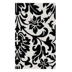 Surya - Surya Contemporary Cosmopolitan Jet Black  White 5'x8' Rectangle Area Rug - Great contemporary designs with a bright color palette and a price in reach of every buyer. Hand tufted from poly-acrylic fibers  these rugs will not shed. Our Cosmopolitan Collection is a beautiful addition to any decor.