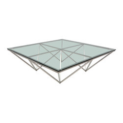 Nuevo Living - Large Square Origami Coffee Table in Stainless Steel by Nuevo - HGTA665 - The Large Square Origami Coffee Table by Nuevo is a perfectly balanced coffee table with angles and straight lines that look like it was created by a great origami master in Japan. The angular shaped base made of brushed stainless steel and it is topped off with thick 12mm tempered glass.  At 4ft x 4ft the Origami Large Square Modern Coffee Table is a good size for home or office.  The Origami occasional table is also available in a smaller square version at 3ft x 3ft version as well as 2 rectangular sizes.  The Origami series of Coffee Tables is a attractive item.