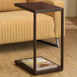 Coaster - 901007 Snack Table - Snack table finished in dark brown with faux wood top and bottom shelf.