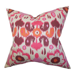 """The Pillow Collection - Querida Ikat Pillow Pink 18"""" x 18"""" - This square pillow enriches your home with its vivid and exquisite details. A gorgeous ikat pattern in shades of pink, orange, purple and white. This decor pillow is crafted with 100% high-quality cotton material. Pair this up with a similar pattern in a different shade for a pop of color to your interiors. Made in the USA. Hidden zipper closure for easy cover removal.  Knife edge finish on all four sides.  Reversible pillow with the same fabric on the back side.  Spot cleaning suggested."""