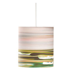 """Rowan Chase - Left Peak, 8"""" X 9"""", with Diffuser - Something completely different for your home? How about the colorful artwork drum pendants by Californian artist Rowan Chase. These unique lamps are constructed on white powder coated lampshade rings with Rowan Chase artwork. 100% Cotton Velvet Watercolor paper, a white 10 foot cord with porcelain fixture and white ceiling canopy. Lamps come assembled and ready for installation. They are handmade in California one shade at a time by Rowan Chase himself in his studio. Available in four sizes from 8"""" to an astonishing 24"""" centerpiece which completely changes your dining, bed or living room! All shades are 9"""" tall."""