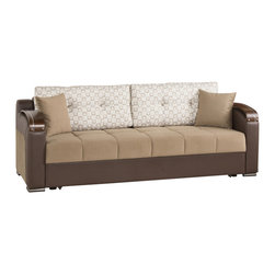 Casamode Furniture - Divan Deluxe Signature Sofa Bed | Sarp Dark Beige - Featuring a click-clack mechanism, Divan Deluxe Signature sofa bed easily provides access to each position - seating, storing and sleeping. Storage inside provides lots space for storing pillows or bedding. Upholstered in Sarp Dark Beigefabric.