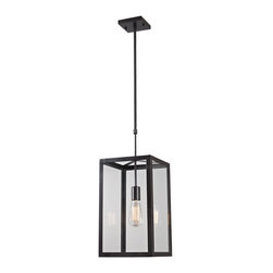 ELK - ELK 63022-1 Pendant - This Series Showcases Minimalist Angular Design With Clear Glass Panels Displayed By The Oiled Bronze Metal Framework. Optional Filament Bulbs Offer A Decorative Focal Point To The Functional Aspects Of The Series.