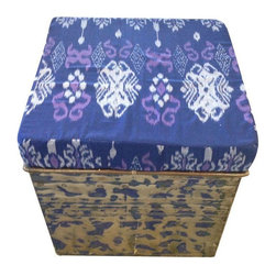 Pre-owned Stained Metal Ottoman with Kantha Cushion - Blue - Stained and distressed, the blue paint reveals the natural metal color creating an organic one of a kind pattern. The kantha seat cushion softens and compliments the distressed metal base with an intentional and attractive pattern in blue and purple hues.
