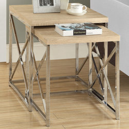 Monarch - Natural Reclaimed-Look/Chrome Metal 2Pcs Nesting Tables - With its natural reclaimed wood-look tops, this 2 piece nesting table set gives an exceptional look to any room. Its original criss-cross chromed metal base provides sturdy support as well as a contemporary look. Use this multi- functional set as end tables, lamp tables, decorative display tables, or simply as accent pieces.