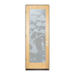 Sans Soucie Art Glass (door frame material T.M. Cobb) - Glass Front Entry Door Sans Soucie Art Glass Bonsai Egret Private - Sans Soucie Art Glass Front Door with Sandblast Etched Glass Design. Get the privacy you need without blocking light, thru beautiful works of etched glass art by Sans Soucie!This glass provides 100% obscurity.Door material will be unfinished, ready for paint or stain.Bronze Sill, Sweep, Satin Nickel Hinges. Available in other finishes, sizes, swing directions and door materials.Dual Pane Tempered Safety Glass.Cleaning is the same as regular clear glass. Use glass cleaner and a soft cloth.