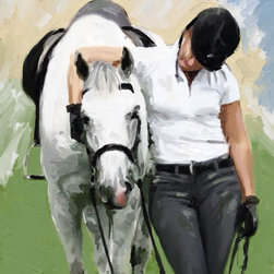 """TRUE LOVE - A special moment of friendship and mutual satisfaction between horse and rider after a good training  session.  The   18x24"""" Giclee, unframed, is embellished by the artist to highlight key areas."""