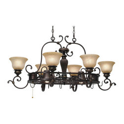 Golden Lighting - Golden Lighting 6029-PR62 Six Light Pot Rack Jefferson Collection - *Require 6 60w Medium Bulbs and 2 50w Medium R20 Bulbs (not included)