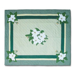 Patch Quilts - Magnolia Blossoms Twin Quilt - -Constructed of 100% Cotton  -Machine washable; gentle dry  -Made in India Patch Quilts - QTMGBL