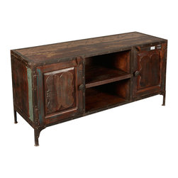 Sierra Living Concepts - Industrial Reclaimed Wood & Iron TV Stand Media Console - If you like your entertainment a little rough, a little relaxed, and a little classic, our Industrial Reclaimed Wood & Iron TV Stand Media Console is ideal.