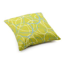 ZUO - Bunny Outdoor Pillow - Large - Throw the Bunny Pillow onto any outdoor furniture to add extra oomph. Olive green with a looping pattern of white and sky blue. Water resistant, to withstand errant lemonade and salsa. Comes in small or large.