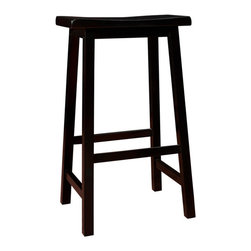 "Monarch Specialties - Monarch Specialties I 1532 Distressed Black 29 Inch Saddle Seat Barstool [Set of - These 29"" distressed black barstools are perfect for all types of game rooms and dining rooms. With its comfortable saddle seat, and well positioned footrest, these pieces are sure to be the staple of many memorable evenings with friends and family. Barstool (2)"