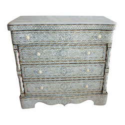 Badia Design Inc. - Moroccan Mother of Pearl Inlay Dresser with White Marble Top - This is a very elegant and stylish Moroccan Mother of Pearl dresser made of brown wood, white mother of pearl designs and comes with a white marble top. Dresser has four working drawers that will provide plenty of storage space. The sides are etched with an elegant floral design and inlaid with mother of pearl.