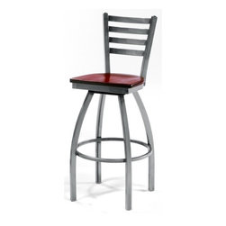 """Grand Rapids Chair - Melissa Ladder Back Swivel Barstool (24"""" - 36"""" Seats) (Set of 2) - A tremendous variety of back options lets you achieve a distinctive look for your Melissa Anne Cross Back Side Chair. Perfect for a cafe, restaurant, or office, this chair will look great wherever you decide to put it. Match it with a barstool for a complete set. All Grand Rapids chairs and barstools are highly customizable, so be sure to check out all the options listed. Please call if you dont see anything that meets your needs, because there's a good chance that Grand Rapids can make any product suit your preferences. Features: -Metal chairs are manufactured from high quality plating grade steel-significantly stronger than the industry standard. -Hand tailored, coped and brazed joints to maximize strength and prevent rust. -Oven-baked epoxy/polyester finish. -Two inches of HR (High Resilience) foam, considered the Cadillac of cushioning. -Made in the USA. -Constructed for commercial/restaurant usage. -Premium carpet glides. -Seat Height  If you need a specific height that is not listed be sure to call. -Upholstery  Grand Rapids carries many fabric options, if you do not see anything to your liking or have your own fabric, please call and one of our customer service representatives will assist you with your order. -CAL 133  If you need any of Grand Rapids chairs to meet California bulletin 133 please call. -CAL 117 Standard. Dimensions: -Seat height: 30"""". -Seat: 18"""" H x 17"""" W x 19"""" D. -Overall: 44.5"""" H x 22"""" W x 21.5"""" D, 46 lbs."""