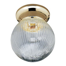 None - Transitional Polished Brass One-Light Indoor Flush Sconce - Beautifully graceful, this polished-brass lighting sconce is designed for indoor use in small rooms such as lavatories. The clear, ribbed shade of glass adds a geometric look, letting light from the 60-watt bulb cascade everywhere you need it.