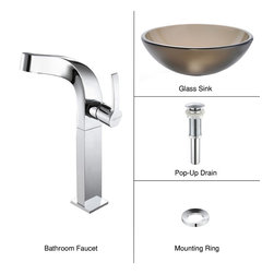 Kraus - Kraus C-GV-103FR-12mm-15100CH Frosted Brown Glass Vessel Sink and Typhon Faucet - Add a touch of elegance to your bathroom with a glass sink combo from Kraus
