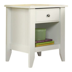 Sauder - Sauder Shoal Creek Night Stand in Soft White - Sauder - Nightstands - 411200 - Contemporary meets rustic in this nightstand from the Sauder Shoal Creek collection. Drawers feature metal runners and safety stops allowing you to use this in even the busiest of households. With one storage cubby and one drawer this nightstand is as functional as it is beautiful. Featuring metal drawer runners and safety stops this nightstand will hold up to even the busiest of households. As an added bonus assembly is quick and easy with the patented T-slot assembly system. Finished in a beautiful soft white there is no doubt that this nightstand will be a staple in your child's bedroom master bedroom or guest room for years to come. Features: