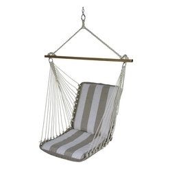 Pawleys Island - Cushioned Single Swing - Decade Sand - A longtime customer favorite, for good reason! Our cushioned single swings capture a whole lot of relaxation potential in not much space.  While compact, our inspired little swings never feel small. The back and seat cushions are both an ample 2-feet square, though that isn't what gives these airborne chairs their compelling sense of spaciousness. Credit for that goes to the 40-inch spreader bars, which hold the cotton-soft DuraCord hanging ropes open wide, so it seems as if the swing chairs grow larger the higher up you go. We use DuraCord for the fabric as well, because it handles weather like a charm, resistant to staining, rot, mold and mildew, yet all the while is as soft as cotton. Not to mention that it's amazingly colorfast.