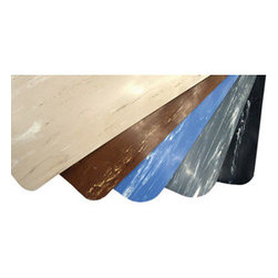 "buyMATS Inc. - 18"" x 30"" Marble Foot 1/2"" Rubber Black/White - Features:"