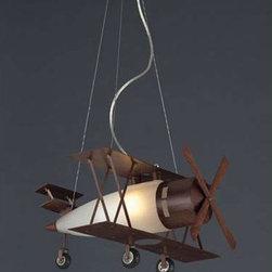 Elk Lighting - Biplane Fighter Satin Nickel Pendant - Biplane Fighter Satin Nickel Pendant Elk Lighting - 5084/1
