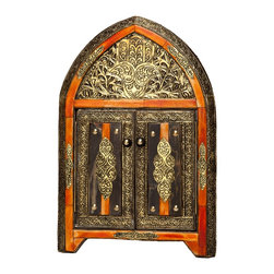 Moroccan Buzz - 17 Inch Moroccan Arched Henna Mirror with Doors - This ornate arched mirror will add personality and charm to your home. It features antique gold-toned embossed metalwork, henna-dyed bone accents, wood frame, and two doors.