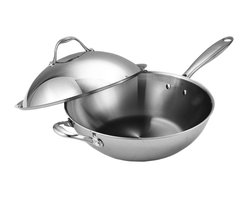 Cooks Standard - Cooks Standard Multi-Ply Clad Stainless-Steel 13-Inch Wok with Dome Lid,NC-00233 - Beautifully designed, the three-layer metal cookware features an interior and exterior layer of premium-grade 18/10 stainless steel with a multi-element alloy aluminum core (along the bottom and up the sides) for fast, even heating and thorough heat distribution. Even more, the brushed stainless-steel exterior resists scratches for long-lasting good looks, whether on the stovetop or hanging from a pot rack. The cookware's solid stainless-steel side handle and opposite helper handle come riveted for strength and feature air-flow technology to help them stay cooler to the touch than typical handles. In addition, its secure-fitting stainless-steel dome lid (complete with its own loop handle) traps in heat and moisture for efficient cooking and delicious results. The cookware can be used on all stovetop surfaces, including induction, and it withstands an oven's heat up to 500 degrees F. The wok cleans up easily by hand or in the dishwasher and carries a limited lifetime warranty.