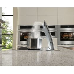 Jenn-Air® Ventilation Options - The Jenn-Air® Accolade™ Downdraft Ventilation System features a refined curve matched by graceful movement as it rises above the cooking surface to powerfully and quietly clear the air.
