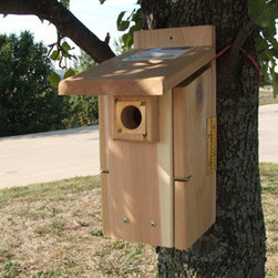 Songbird Essentials - Ultimate Bluebird House - Ultimate Bluebird House. Entrance hole 1.5 inch. Height from the floor to the entrance hole is right at 7 3/4 inches. Includes nest lift and portal protector.