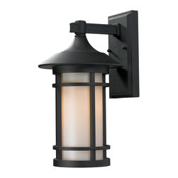 Z-Lite - Z-Lite Woodland Outdoor X-KB-M725 - Clean contemporary styling on a traditional look make this medium wall mount fixture well suited for any home. The light has black finish with matte opal glass.