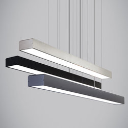 Tech Lighting - Knox Linear Suspension - Knox Linear Suspension features strong lines and industrial simplicity. This LED suspension fixture performs as it must with such a simple yet handsome design and lets the light itself take center stage. Equally at home over a kitchen island or dining room table as it is in a professional setting over a conference table, lighting a desk space or welcoming guests. Available in gunmetal, black, or satin nickel finish. At 40 watts of field-replaceable LED strips (included), it will provide incredible illumination in virtually any environment (3500 lumens, 3000K). Dimmable with low-voltage electronic dimmer. 45.24L x 3.6W x 2.17H.
