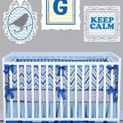 Gage Baby Crib Bedding Set, Chevron Blue - Gage 3-Piece Crib Bedding Set