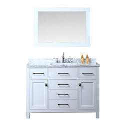 """Ari Kitchen and Bath - Bella 48"""" White Transitional Style Bathroom Vanity and Mirror - Beautiful transitional style bathroom vanity by Ari Kitchen and Bath, a new brand manufacturing quality bathroom decor at affordable prices. The new 48"""" Bella comes with 1"""" edge Italian carrara marble top, backsplash, rectangle undermount CUPC basin, soft-closing drawers and doors, concealed drawer hinges, pure white framed mirror and pure white solid wood bathroom cabinet. Absolutely no MDF or Particle board on all of our bathroom vanities. All of our bathroom vanities come assembled by the manufacturer, minimal assembly required."""