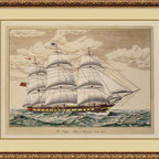 Amanti Art - The Clipper Ship, Anglesey, 1150 Tons Framed Print - Old world craftsmanship is on display in these hand colored Italian engravings on aged paper.  Slight irregularities make each piece unique and special.